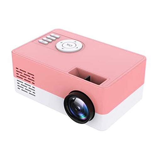 Portable Projector, LED Mini Projector Supports 1080P Full HD Supported HDMI USB Audio Projector Home Media Video Player Outdoor Projector,Pink