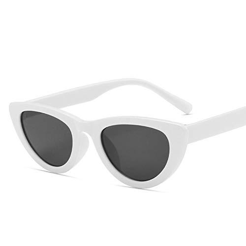 NJJX Gafas De Sol De Ojo De Gato Para Mujer, Gafas De Sol Triangulares Vintage Para Mujer, Montura Pequeña, Vintage, Negro, Blanco, Gris