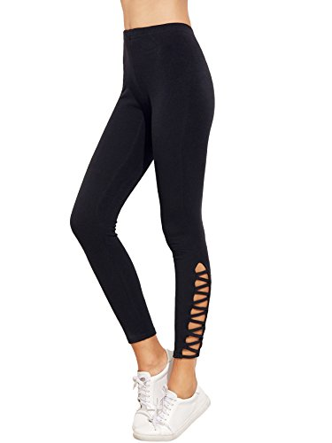 SweatyRocks Women's Cutout Leggings Skinny Yoga Pants Runing Jogger Active Tight Black XL