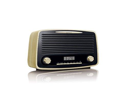 Lenco DAR-012 Retro-Digitalradio mit Bluetooth - DAB+ und UKW/FM Radio Empfänger - 2 x 5 Watt RMS - Uhr und Weckfunktion - Teleskopantenne - AUX-Eingang - holz