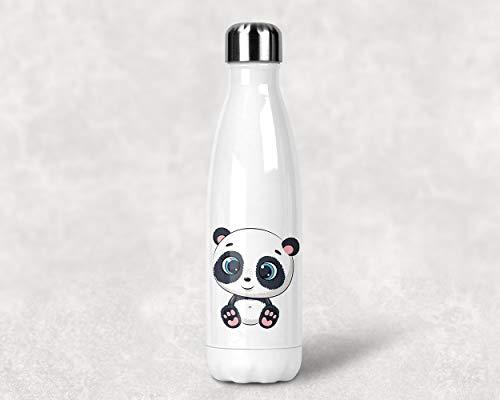 Fashion Graphic Bottiglia Termica Thermos Panda Animali Tropicali Anche Personalizza con Nome Acciaio Inossidabile Inox Doppio Strato Borraccia 500ml (Panda con Nome Personalizzato)
