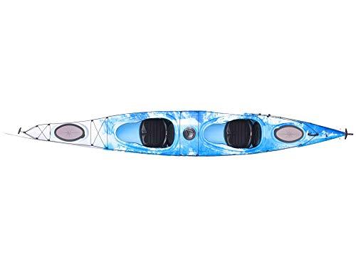 Zweier Kajak Kajak 2er Tourenkajak Seekajak Double-Flash mit Pedalen und Steuer, Farbe:Blau-Weiß-Marmoriert, Ausstattung:Mit Ruder