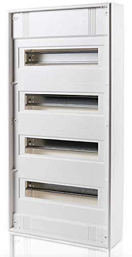 Aufputz Kleinverteiler VISION, 1 bis 4-reihig wahlweise Steck- oder Schraubklemme Stahl- oder Kunststofftür (Steckklemme Stahltür, 4-reihig 48+8 Module)