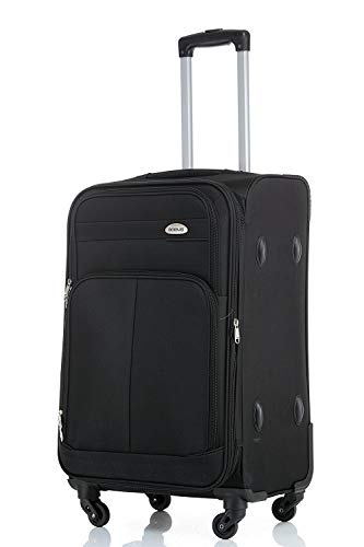 TOP-trolley-koffer - 63x42x28cm - XL-Light - 75 liter - 3,2 kg - 4 dubbele wielen - plooi (zwart)
