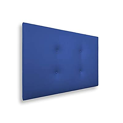🛌 CARLO - Cabecero con una estructura de madera y tapizado en polipiel con dos hileras de botones, dándole un toque juvenil y moderno. 📐ESPECIFICACIONES - Cabecero de color azul. Medidas: 105x5x50 cm. 🔎 TRANSPIRABLE - La parte trasera contiene un tej...
