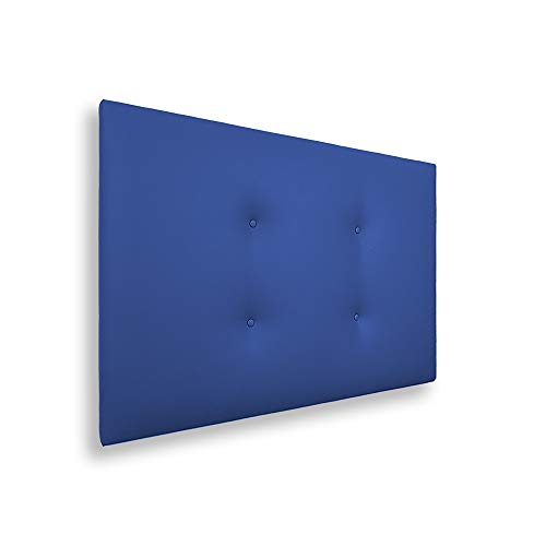 Silcar Home - Cabecero de Cama Tapizado en Polipiel con 2 Hileras de Botones, Modelo Carlo (Azul, 105 cm) | Cabecero Acolchado | Cabezal Tapizado | Cabecero Original | Transporte Incluido