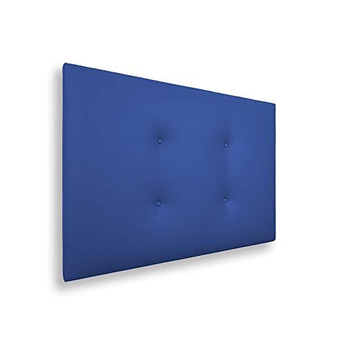Silcar Home - Cabecero de Cama Tapizado en Polipiel con 2 Hileras de Botones, Modelo Carlo (Azul,...