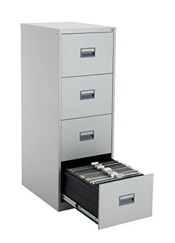Talos Heavy Duty Steel Filing Cabinet, 40 kg Drawer Tolerance, Grey, 4