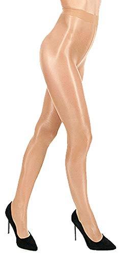 Unbekannt Nudo Glossy Glanz Satin-Strumpfhose 20 den glänzend Farben T-Band transparent (S/M, beige safari)
