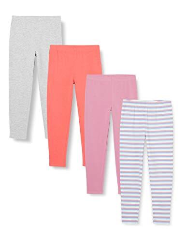 Amazon-Marke: RED WAGON Mädchen Leggings mit Print, 4er-Pack, Mehrfarbig (Streifen/Unifarben), 152, Label:12 Years