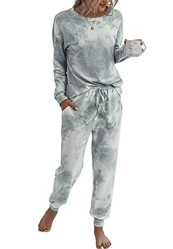 PRETTYGARDEN Women's Tie Dye Two Piece Pajamas Set Long Sleeve Sweatshirt with Long Pants Sleepwear Loungewear Set with Pockets (Grey, Medium)
