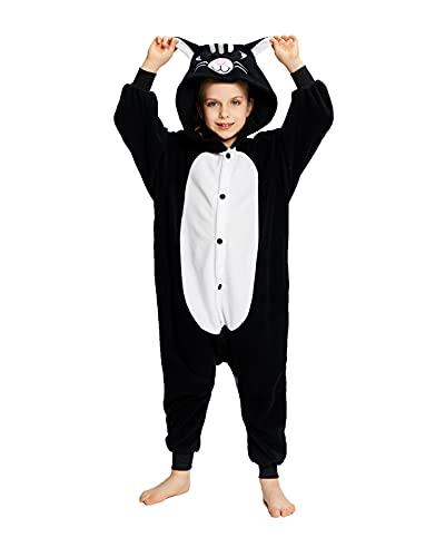 NEWCOSPLAY Unisex Kids Animal One-Piece Pajamas Black Cat Cosplay Onesies Costume(8 Years,Black Cat)