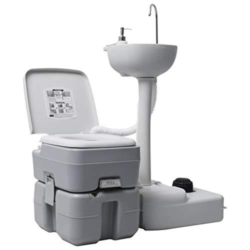 vidaXL Campingtoilette Handwaschbecken Set Tragbar Kolbenpumpe Fußpumpen-Design Mobile Chemietoilette WC Eimer Reise Klo Toilette Waschbecken Grau