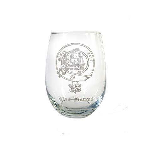 Duncan Scottish Clan Crest Clear Stemless Wine Glass 18 oz - Free Personalized Engraving, Celtic Decor, Scottish Wedding Glass