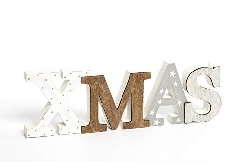 Heitmann Deco Schriftzug XMAS aus Holz - weiß/grau/braun - mit Punkten und Sternen - Aufsteller - Weihnachtsdekoration