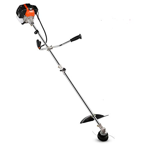 COOCHEER 42.7CC Straight Shaft Gas Powered Weed Eater Weed Trimmer, 2-Cycle 2-in-1 Gas String Trimmer and Brush Cutter with 2 Detachable Head for Lawn, Grass, Weed