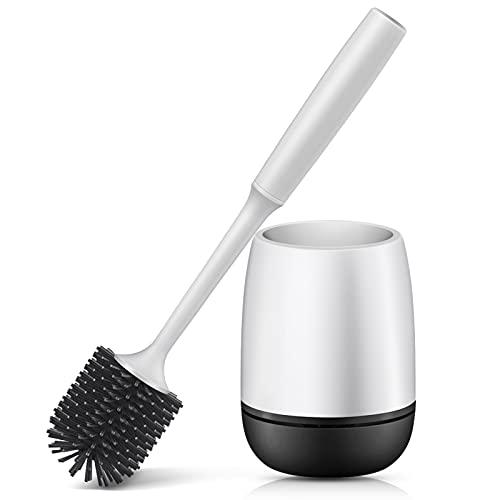 CINDOU Toilettenbürste, mit Halter Wandmontage & Stehen Silikon Toilettenbürste Set, Langer Stiel klobürste und schnell trocknendem Haltersatz (Weiß/Schwarz)