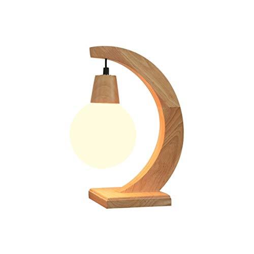 Zhenmu home Nordic Tabla de Madera Lámpara Boutique Creativa Dormitorio Sólido Forma de la lámpara de Escritorio de Madera Decoración de la Media Luna lámpara de Mesa