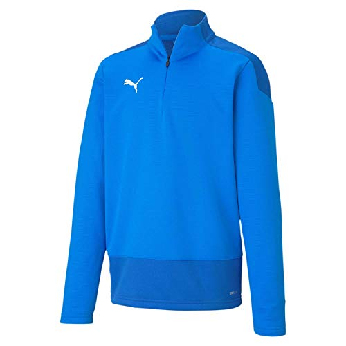 PUMA Unisex Kinder, teamGOAL 23 Training 1/4 Zip T Pullover, Electric Blue Lemonade-Team Power Blue, 140
