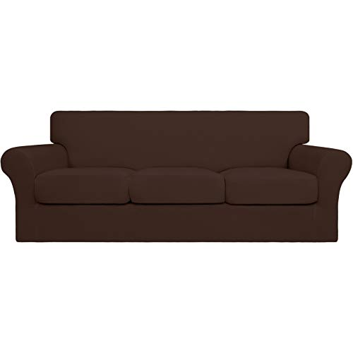 Easy-Going 4 fundas de sofá elásticas suaves para perros – Funda de sofá lavable para 3 cojines separados – Protector de muebles elástico para mascotas, niños (sofá, café)