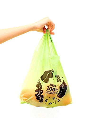 Bolsas Biodegradables y Compostables Tipo Camiseta EXTRA RESISTENTES, Certificadas y Fábricadas con Almidón de Maíz en la Union Europea. (Medium(27+2x7)x45 cm)