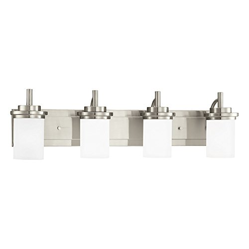 Sea Gull Lighting 44663-962 Winnetka - Four Light Bath Fixture, Brushed Nickel Finish with Satin Etched Glass