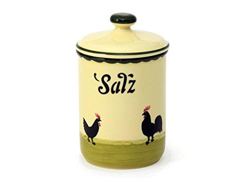 Zeller Keramik Hahn und Henne Vorratsdose Salz 1 Liter