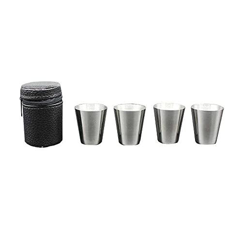 GKYI 4 vasos de chupito con funda de piel de 30 ml, mini vasos de acero inoxidable para el hogar, la cocina, el bar al aire libre