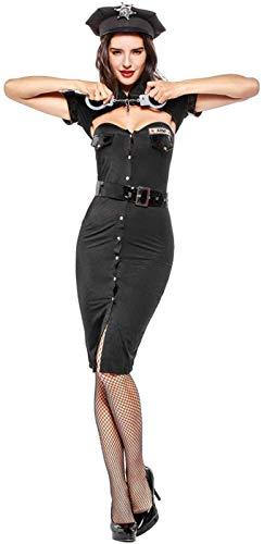 MEIGUI Lencería Erótica Ropa Erótica Uniformes Eróticos De Policías Femeninos Poliéster + Cuero De Imitación Ropa De Juego De Halloween,OneSize-Black