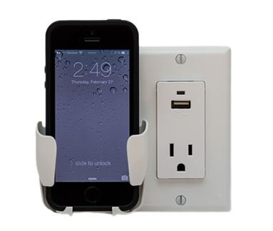 NEW CERTICABLE CELL PHONE DOCK AND CHARGING STATION USB FOR ALL IPHONE ANDROID BLACKBERRY WHITE WALL PLATE
