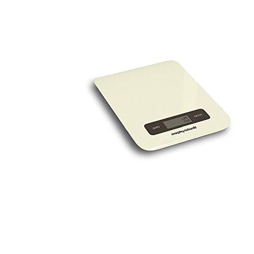 Morphy Richards Accents-Küchenwaage mitdigitalem Touchscreen, Edelstahl, elfenbeinfarben, 0.37 x 21.8 x 17 cm