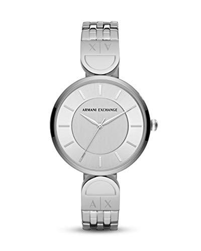 Armani Exchange Damen-Uhren Analog Quarz One Size Silber Edelstahl 32002559