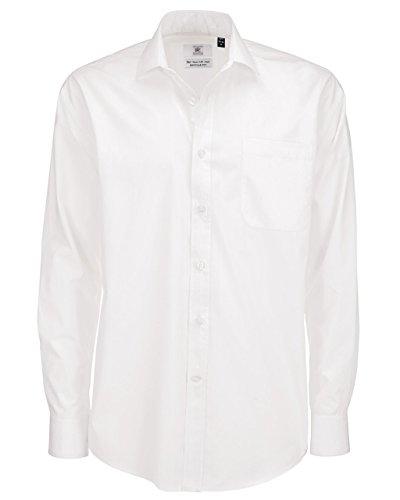 B & C smp61Herren Hemd, formal, Bürobekleidung, Popeline, lange Ärmel Gr. X-Large, weiß