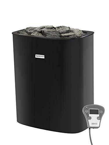 Narvi NC Elektrische saunakachel, 9 kW, handgemaakte, Finse sauna-oven, van de hoogste kwaliteit, voor een originele Finse sauna-ervaring, inclusief 2 x 20 kg saunastenen, zwart