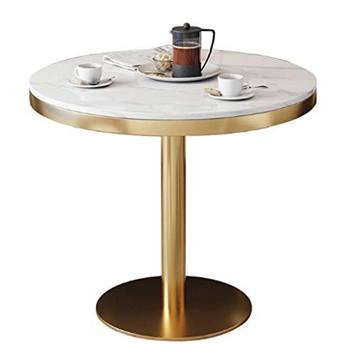 YLMF Runder Marmor-Konferenztisch, Verhandlungstisch, Glatte Kanten und Nano-Backlack, schmiedeeiserner Rahmen, für Restaurant, Café, Höhe 75 cm