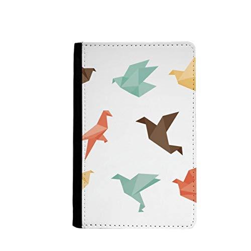 beatChong Pájaro Colorido Patrón De Origami Abstracta Bolso De Viaje con Pasaporte Tarjeta De La Caja Cubierta De La Carpeta