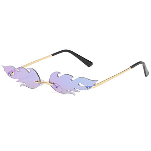 Occhiali da Sole Unisex Con Lenti A Specchio, Con Fiamma,Occhiali da Sole Tendenza Steampunk Occhiali Vintage,Occhiali da Sole Senza Montatura Ondulati,Occhiali da Vista da Uomo In Metallo da Donna