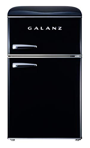 Galanz Retro 3.1 cu ft True Freezer Dual-Door Refrigerator - Black