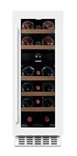 mQuvee Weinkühlschrank Unterbau/Einbau WineCave 30D Powder White, Platz für bis zu 16 Flaschen, 2 Temperaturzonen 5-20°C, Breite 30 cm