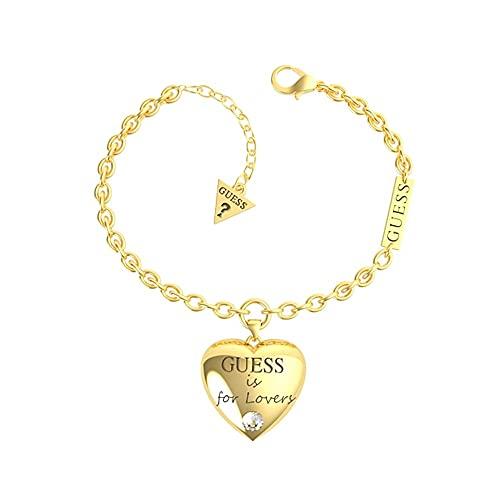donna GUESS Bracciale catena Cuore Bold UBB70035-S in acciaio 14,6 centimetri. cuore di cristallo Swarovski placcato oro