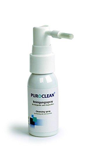 PUROCLEAN® Reinigungsspray mit Bürste, 30 ml für Hörgeräte und Otoplastiken mit 2 Stück LUXTOR® Reinigungstücher für Hörgeräte und Otoplastiken