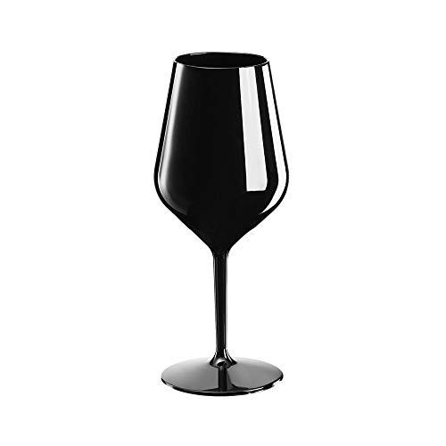 Sovie Tableware | Mehrweg Weinglas aus Tritan 470ml Schwarz| Glas Wasserglas Rotweinglas Trinkglas | 1 Stück