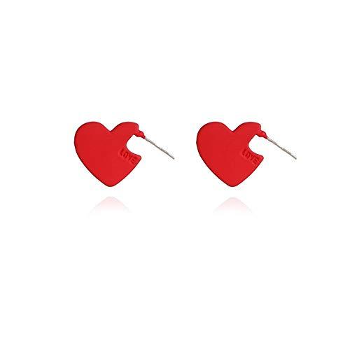 WGGTX Arete Red Love Heart Silver Pendientes Pendientes Pendientes Pendientes Pendientes Simple Temperament Sweet Pendientes Cute