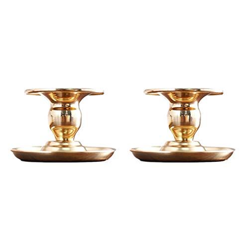 Firlar 4 portavelas | Plato para vela | Candelabro | Portavelas de hierro dorado | Soporte para vela de pedestal | para decoración de mesa de boda, decoración del hogar, dorado, 2 unidades