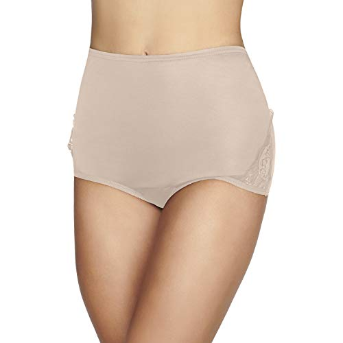 Vanity Fair Women's Perfectly Yours Traditional Nylon Brief Panties, Lace-Fawn, 6
