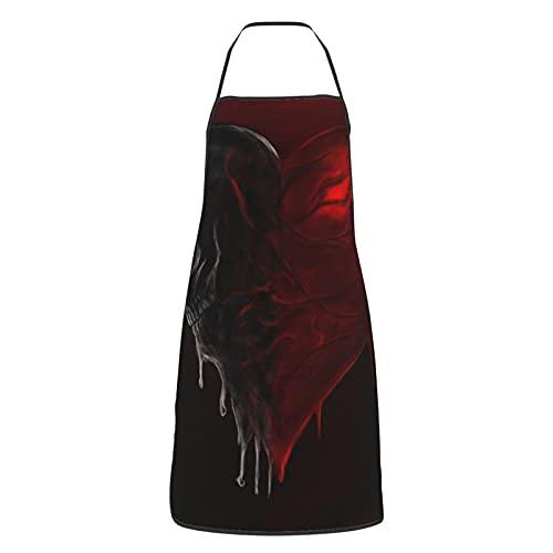 Delantal de cocina para mujeres hombres con bolsillos cráneo corazón amor muerte rojo oscuro delantales de sangre Chef Cocinar Hornear Jardinería barbacoa parrilla pintura negro