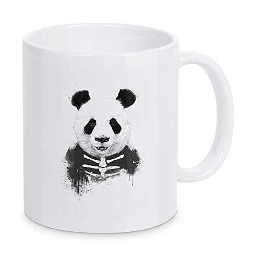 artboxONE Zombie Panda de Balázs Solti - Taza de café blanco y negro