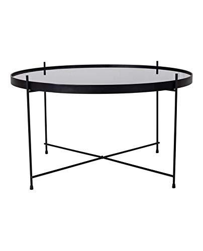 Hoes, Nordic salontafel, Venezia, staal, gepoedercoat, zwart, met glas, 70 x 40 cm