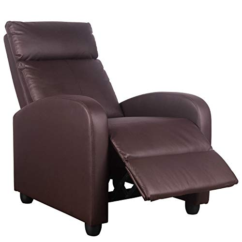 Polar Aurora Massage Recliner Chair PU Leather Vibratory Massage Function Recliner Ergonomic Lounge for Living Room(Brown)