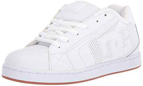 DC Men's Net Skate Shoe, White/White/Gum, 10 D M US
